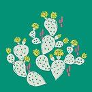 Gelber blühender Kaktus auf Emerald Background von Jacqueline Hurd