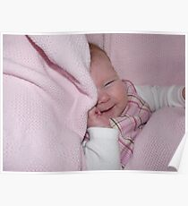 Cheeky little baby playing peek-a-boo Poster