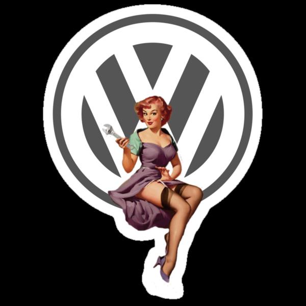 Volkswagen Pin-Up Wrenching Wanda (gray) by Sarah Caudle
