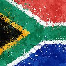 South Africa Flag Action Painting - Messy Grunge by Garyck Arntzen