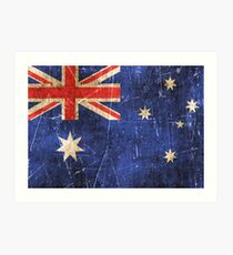Vintage Aged and Scratched Australian Flag Art Print