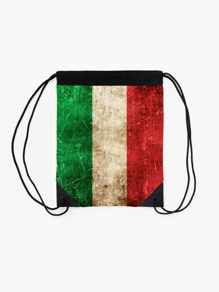 Alternate view of Vintage Aged and Scratched Italian Flag Drawstring Bag