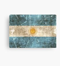 Vintage Aged and Scratched Argentinian Flag Canvas Print
