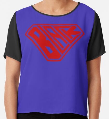 Black SuperEmpowered (Red) Chiffon Top