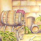 Wine Barrels in Courtyard by FranEvans