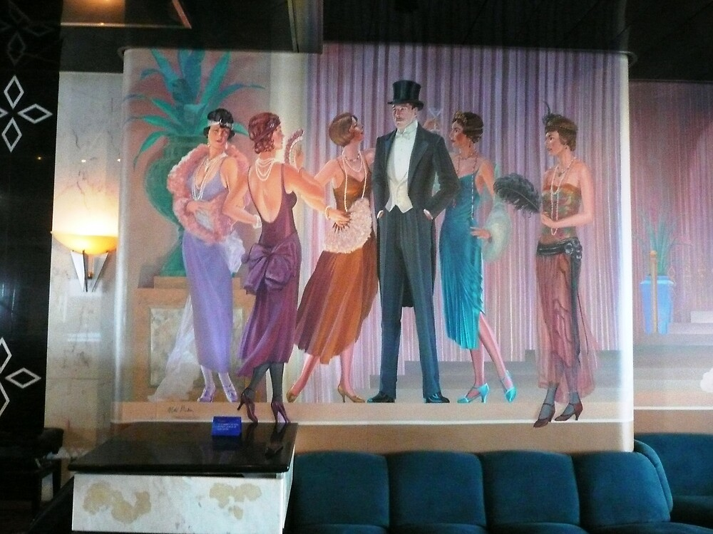 A 40's Painting on the Wall of the Entertainment Room on a Cruise Ship. by Mywildscapepics