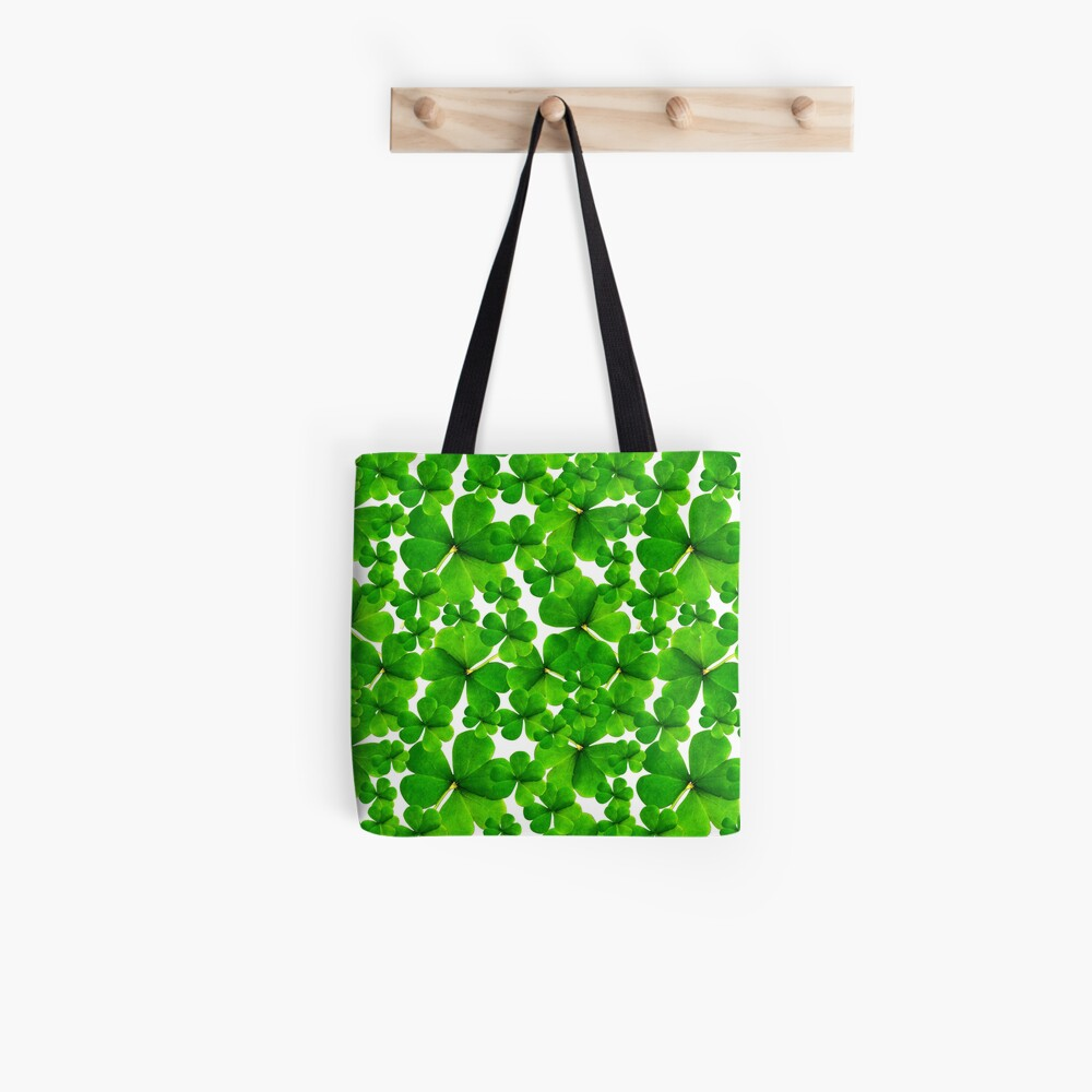 Falling Shamrock Pattern with Whitebackground Tote Bag