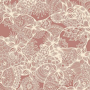 Rose Gold Floral Doodles by julieerindesign