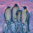 Emperor Penguins with Baby Chicks, Antarctic Winter, Pink Blue by clipsocallipso