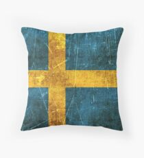 Vintage Aged and Scratched Swedish Flag Throw Pillow