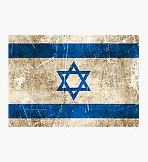 Vintage Aged and Scratched Israeli Flag Photographic Print