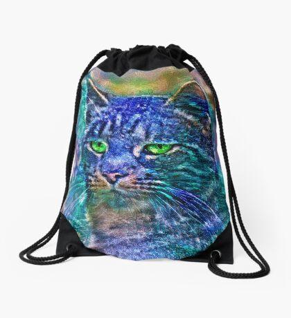 Artificial neural style Blue cat avatar Drawstring Bag