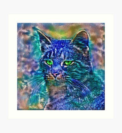 Artificial neural style Blue cat avatar Art Print
