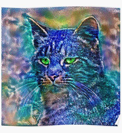 Artificial neural style Blue cat avatar Poster