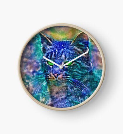 Artificial neural style Blue cat avatar Clock