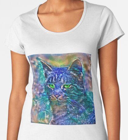 Artificial neural style Blue cat avatar Premium Scoop T-Shirt