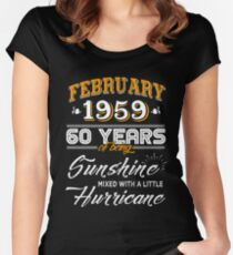 60th Birthday Gifts - 60th Wedding Anniversary - 60th Celebration - Since February 1959 Women's Fitted Scoop T-Shirt