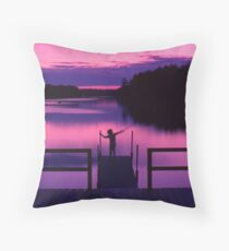 Boy with stick Throw Pillow