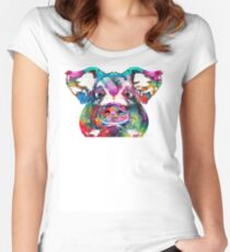 Colorful Pig Art - Squeal Appeal - By Sharon Cummings Women's Fitted Scoop T-Shirt