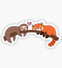 Sloth and Red Panda Love Sticker