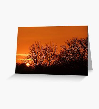 Orange Winter Sunrise - Chelmsford, UK Greeting Card