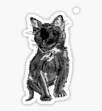 Saphira the cat Pixel sketch Sticker