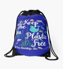 Keep The Sea Plastic Free Let Our Wildlife  Drawstring Bag