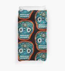 Calavera - Blue Skull Orange Outline Duvet Cover