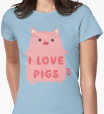 I Love Pigs Cute T Shirt Women's Fitted T-Shirt