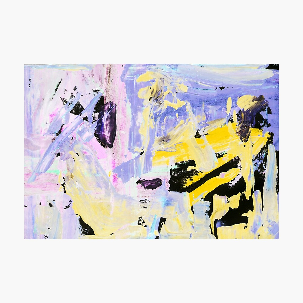 painting, contemporary art. Gouache acrylic tempera paint, abstract texture hand drawn. blue gray purple pink yellow black Photographic Print