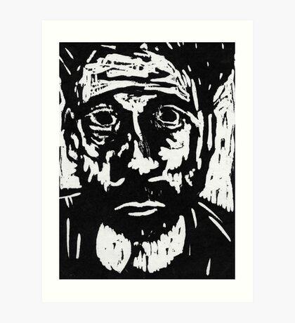 self portrait #3 in woodcut Art Print