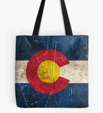 Vintage Aged and Scratched Colorado Flag Tote Bag