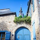 View to Tower of I'Horloge from Place Saint Sauveur, Dinan - France by Marilyn Harris