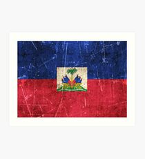 Vintage Aged and Scratched Haitian Flag Art Print