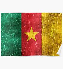 Vintage Aged and Scratched Cameroon Flag Poster