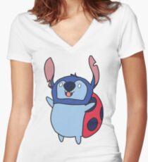 Catbug stitch Women's Fitted V-Neck T-Shirt