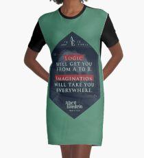 Vestido camiseta Cita de: Albert Einstein sobre lógica e imaginación - Camisetas, pósters, pegatinas y regalos