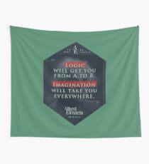 Tela decorativa Cita de: Albert Einstein sobre lógica e imaginación - Camisetas, pósters, pegatinas y regalos