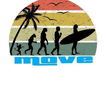 Retro vintage surfing evolution  by handcraftline