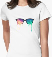 Abstract Polygon Multi Color Cubism Low Poly Triangle Design Fitted T-Shirt