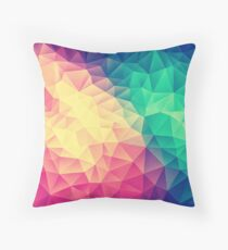 Abstract Polygon Multi Color Cubism Low Poly Triangle Design Throw Pillow