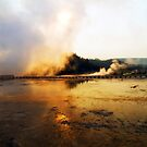 Cold Morning Sunrise at Grand Prismatic Spring by Teresa Zieba