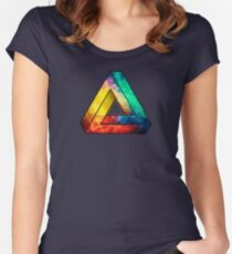 Abstract Multi Color Cubizm Painting Women's Fitted Scoop T-Shirt