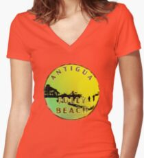 Jolly Beach Souvenir Products T Shirts Clocks Canvases Women's Fitted V-Neck T-Shirt