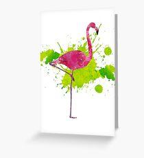Paint Splatter Flamingo Greeting Card