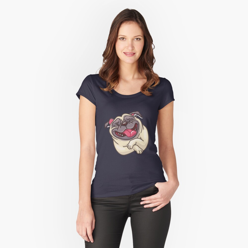 ★ Puppy |  Pug Women's Fitted Scoop T-Shirt Front