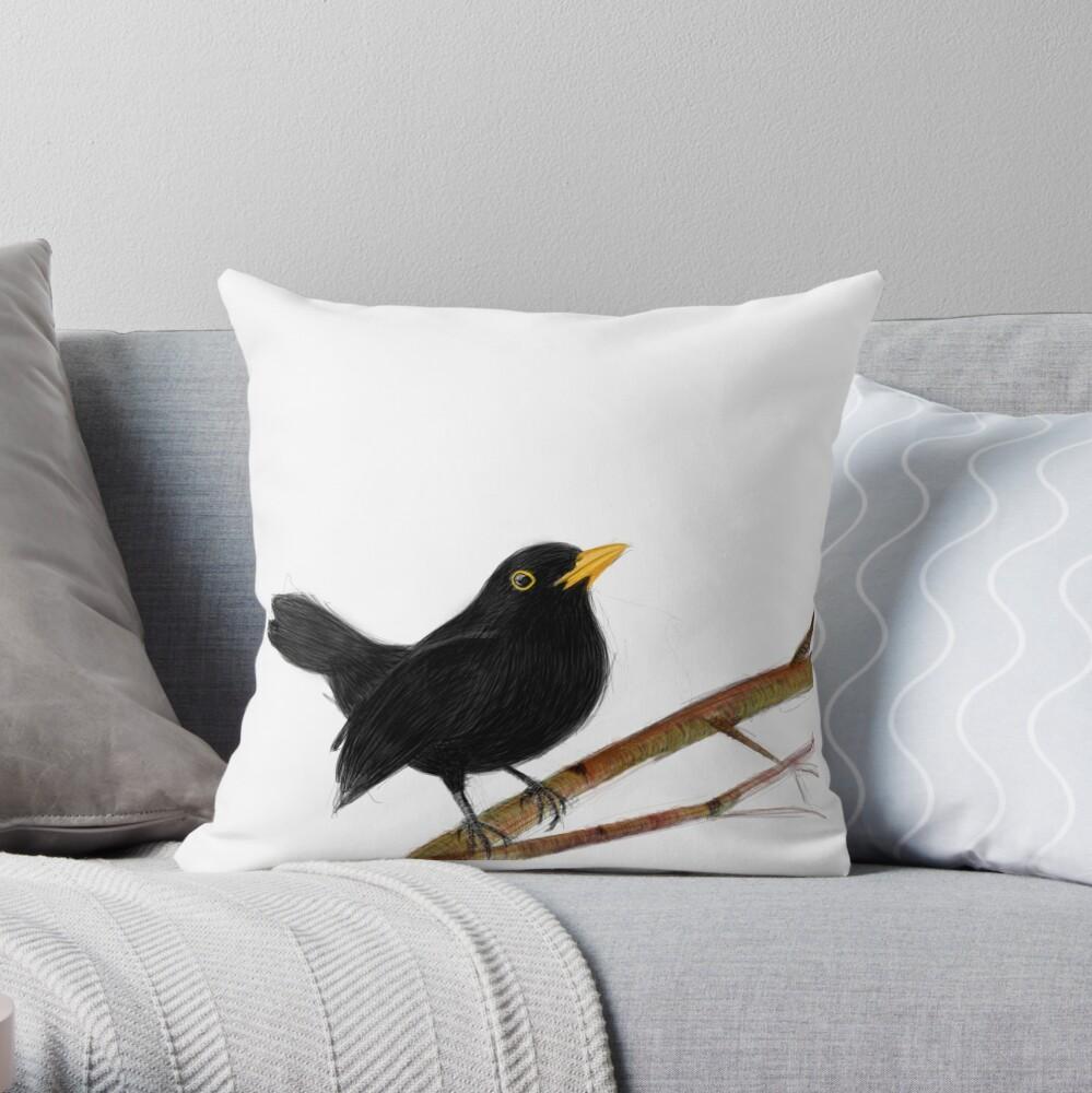 blackbird in love Throw Pillow
