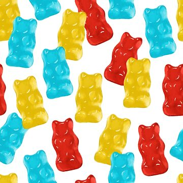 Blue, Red and Yellow Gummy Bear Candy Pattern by carabara
