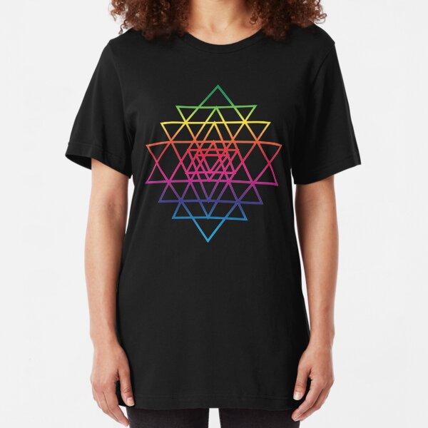Sacred Geometry Geometric Mandala Flower Of Life Rainbow Sri Yantra Star Slim Fit T-Shirt