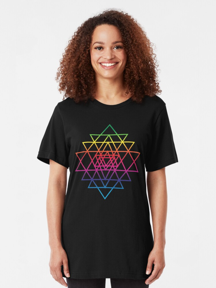 Alternate view of Sacred Geometry Geometric Mandala Flower Of Life Rainbow Sri Yantra Star Slim Fit T-Shirt